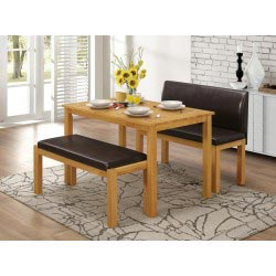Hamra Dining Table Two Leather Benches - Natural Oak