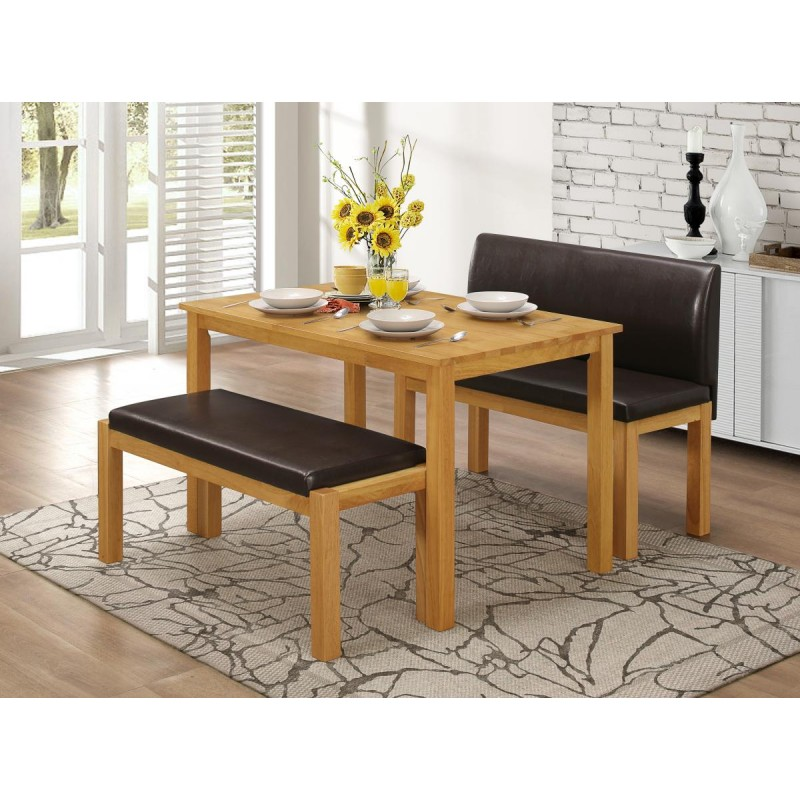 Stupendous Hamra Dining Table Two Leather Benches Natural Oak Unemploymentrelief Wooden Chair Designs For Living Room Unemploymentrelieforg