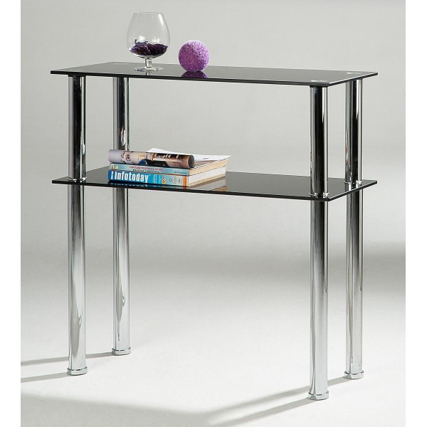 Hudson Two Shelf Black Glass Side Hall Console Table Display Stand