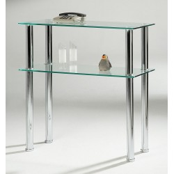 Hudson Two Shelf Clear Glass Side Hall Console Table Display Stand
