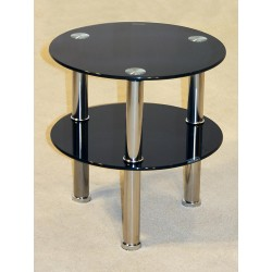 Kansas Two Shelf Round Black Glass Display Stand - Side End Lamp Coffee Table