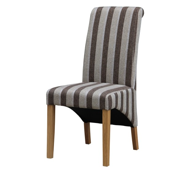 Kingsland Fabric Dining Chairs Grey & Brown Striped - Pack of Two