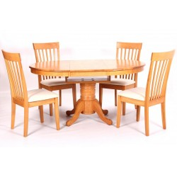 Leicester Extending Round Dining Table with Four Chairs - Light Oak