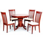 Leicester Extending Round Dining Table with Four Chairs - Mahogany Finish