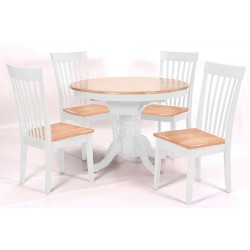 Leicester Extending Round Dining Table with Four Chairs - Natural & White Finish