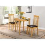 Lunar Folding Round Dining Table Two Chairs - Oak Finish