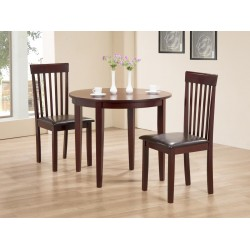 Lunar Extending Round Dining Table with Two Chairs - Mahogany Finish