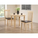 Lunar Folding Round Dining Table Set  with Two Chairs - Natural Finish
