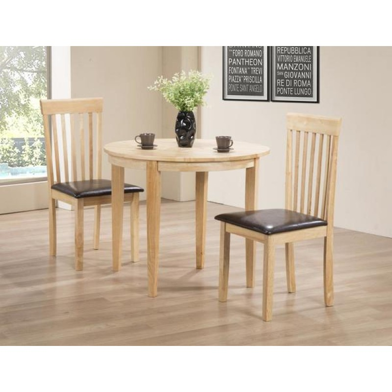 Lunar Folding Round Dining Table Set With Two Chairs