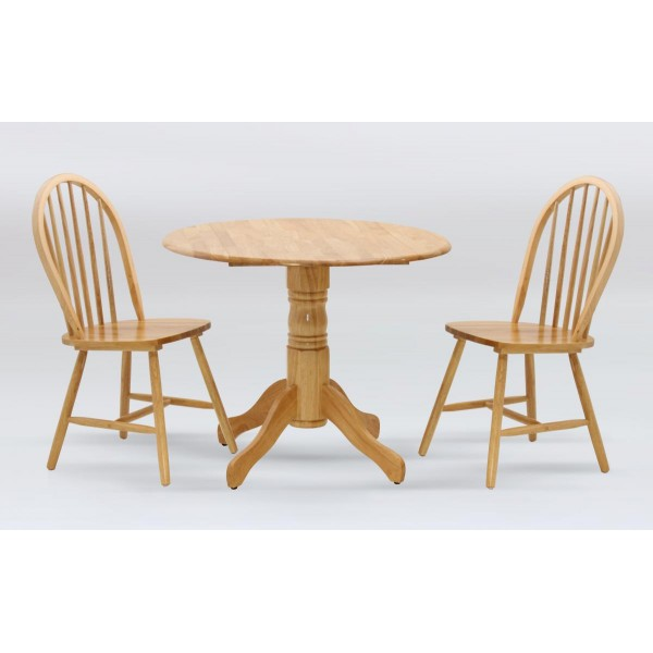 Madison Drop Leaf Dining Table with Two Chairs - Natural Finish