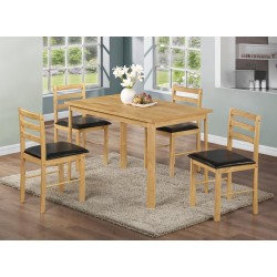 Nice Dining Table Set with Four Chairs - Natural Oak Finish