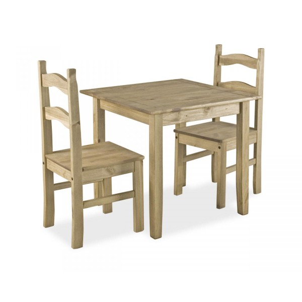Corona Mexican Light Waxed Solid Pine Small Square Dining Table Set with Two Chairs