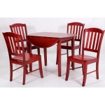 Southall Two Drop Leaf Dining Table Set with Four Chairs - Mahogany Finish