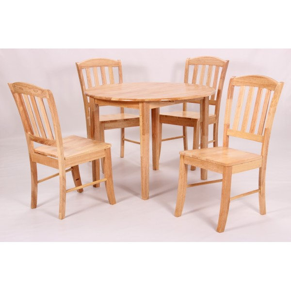 Southall Two Drop Leaf Dining Table Set with Four Chairs - Natural Finish