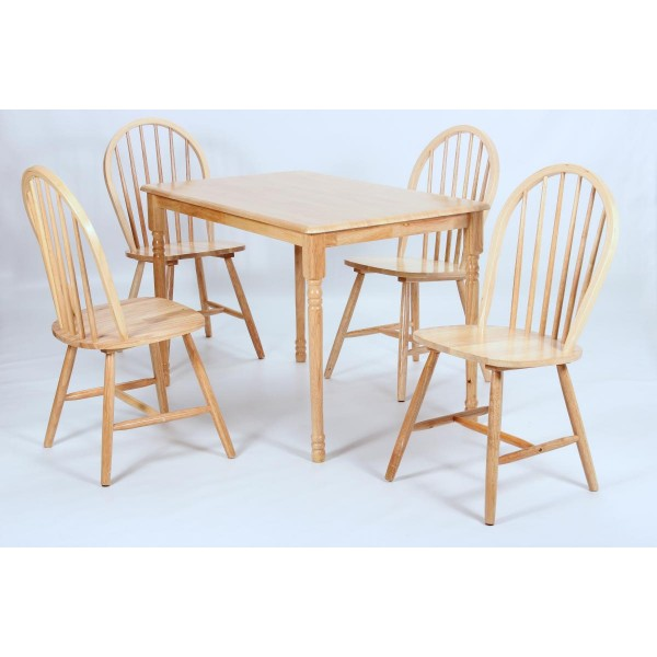 Sutton Traditional Rectangle Dining Table with Four Chairs - Natural Finish