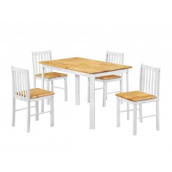 Sheldon White Dining Table with Four Chairs - Natural Oak Top Finish