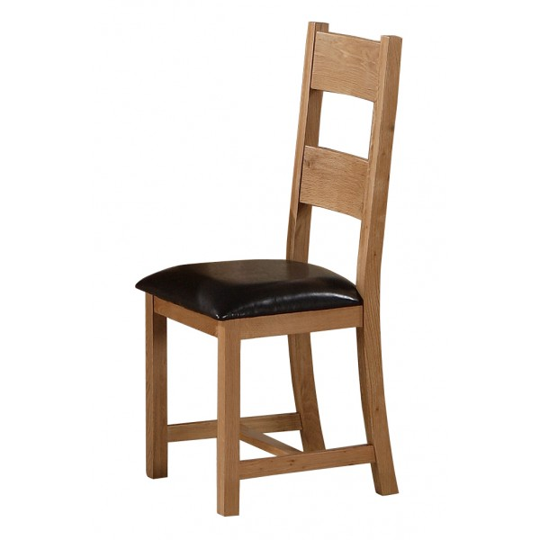 Stirling Solid Oak Dining Table Chairs Black Faux Leather Pads - Pack of Two