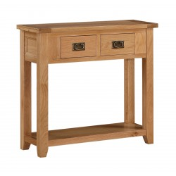 Stirling Solid Oak Console Hall Side Table with Two Drawers
