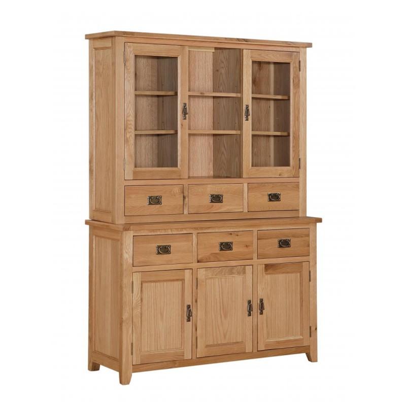 stirling solid oak three door buffet hutch sideboard. Black Bedroom Furniture Sets. Home Design Ideas