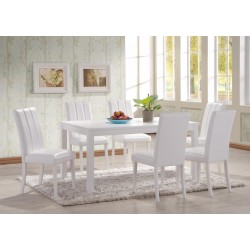 Trogon Large White Dining Table with Six White Leather Chairs