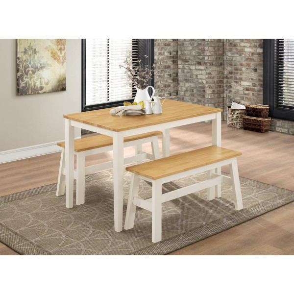 Washington Dining Table Two Benches - Natural Oak & White Finish