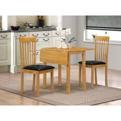 Atlas Two Drop Leaf Folding Dining Table with Two Chairs Oak Finish