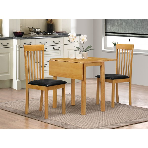 Atlas Two Drop Leaf Folding Extending Dining Table Two Chairs Oak Finish