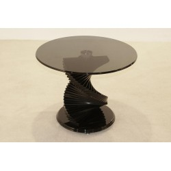 Cordoba Spiral Base Round Black Tinted Glass Lamp Side End Coffee Table