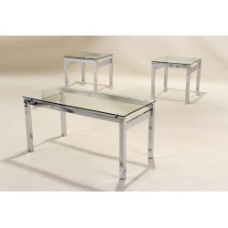 Epsom Three Piece Clear Glass & Chrome Coffee Table - Lamp Side End Table Set