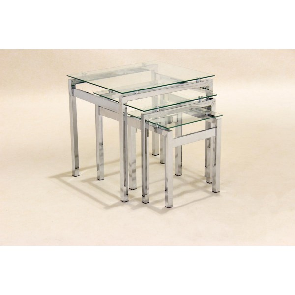 Epsom Clear Glass Chrome Nest of Tables