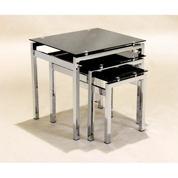 Eton Black Glass & Chrome Nest of Tables Side End Tables