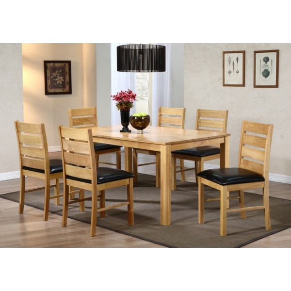 Fairmont Large Wooden Dining Table with Six Chairs - Natural Finish