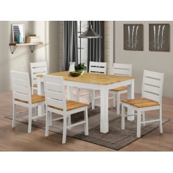 Fairmont White Large Wooden Dining Table with Six Chairs - Natural Finish