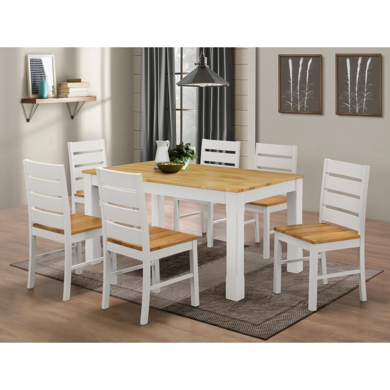 Fairmont White Large Wooden Dining Table With Six Chairs