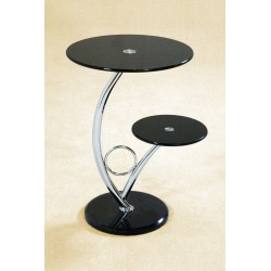 Two Hawaii Round Black Glass Display Unit with Marble Base