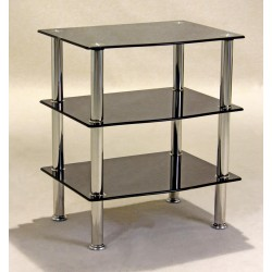Hudson Three Shelf Black Glass Display Stand - TV DVD Console Hi-Fi Unit