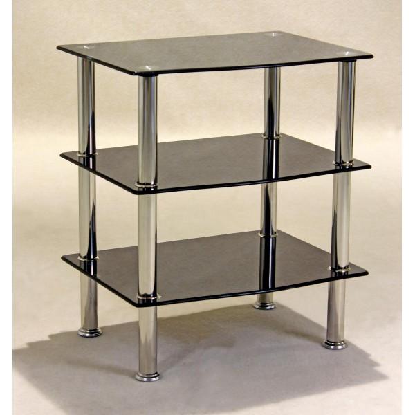 Hudson Three Shelf Black Glass Display Stand - TV DVD Console Hi-Fi Unit