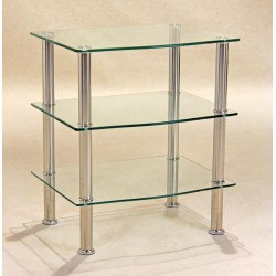 Hudson Three Shelf Clear Glass Display Stand - TV DVD Console Hi-Fi Unit