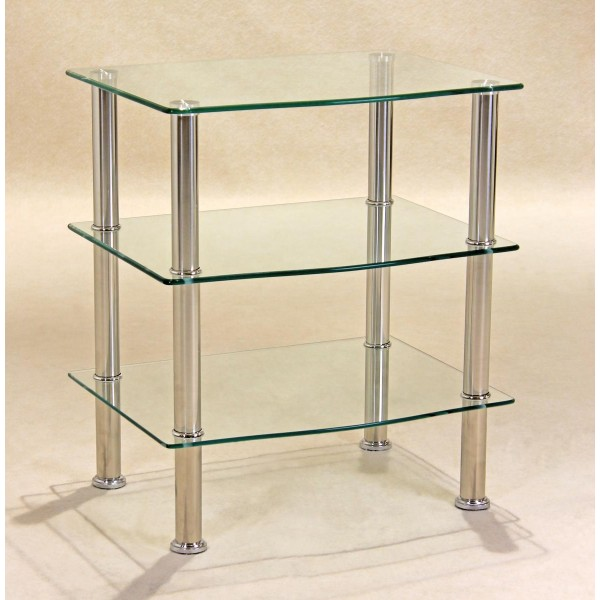 Hudson Three Shelf Clear Glass Display Stand - TV DVD Console Hi-Fi Unit