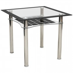 Jazo Black & Clear Glass Square Dining Table Chrome Legs Shelf