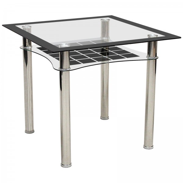 Jazo Black & Clear Glass Square Dining Table Chrome Legs Shelf