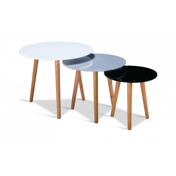 Sandon Round Gloss Nest of Tables Solid Beech Legs - Black Grey White