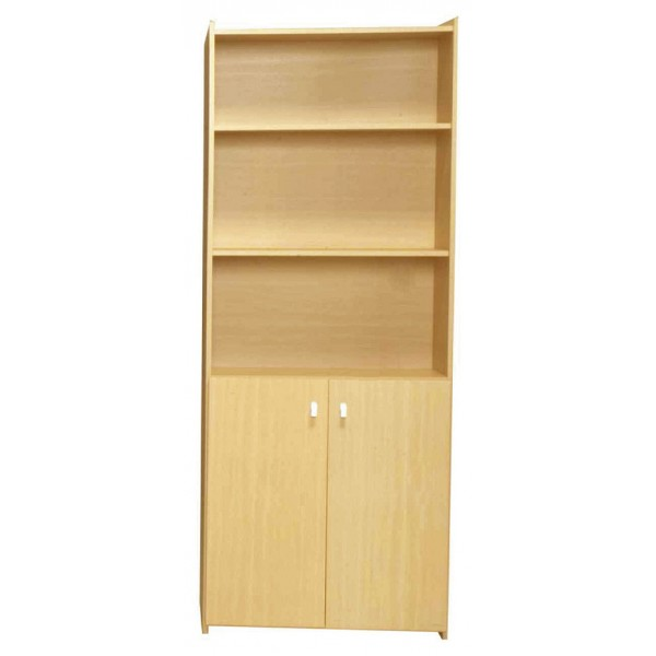 Santos Large Two Shelf Book Case Storage Dispay Stand with Doors - Beech Finish