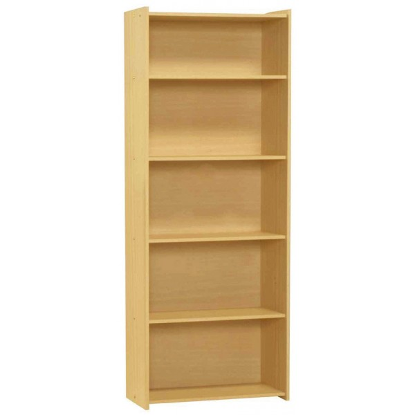 Santos Large Four Shelf Wooden Book Case Storage Dispay Stand - Beech Finish