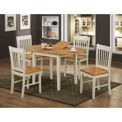 Stacey Extending Round Dining Table with Four Chairs - Natural & White Finish
