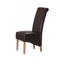 Trafalger Dining Chairs Brown Leather Wooden Legs - Pack of Two
