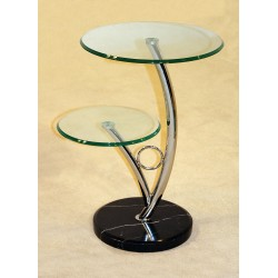 Two Hawaii Round Clear Glass Display Unit with Marble Base