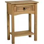 Corona Light Waxed Solid Pine Side End Hall Table with Drawer