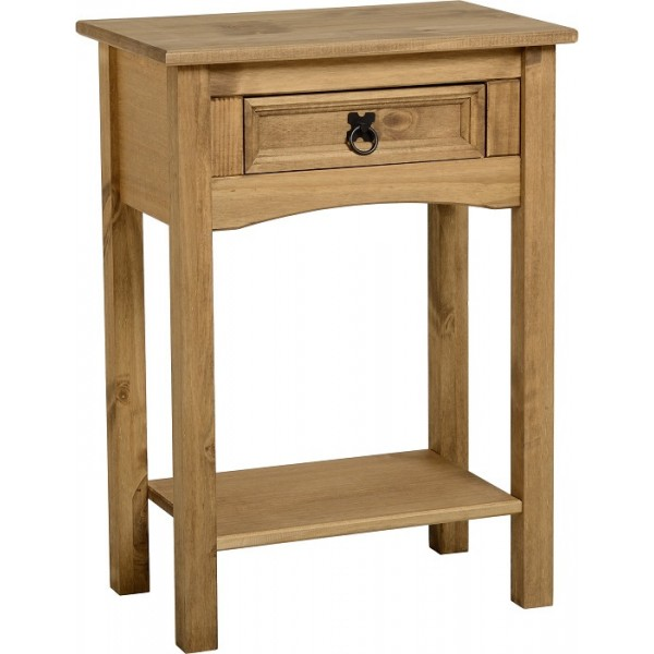 Corona Rustic Distressed Light Waxed Solid Pine Side End Hall Table with Drawer