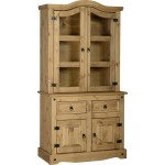 Corona Light Waxed Solid Pine Two Door Hutch Sideboard Buffet Cupboard